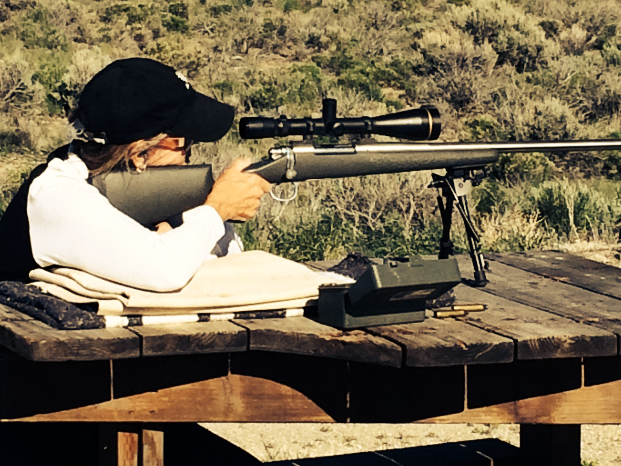 Sue Ross practicing with Bristlecone's Sendero rifle.